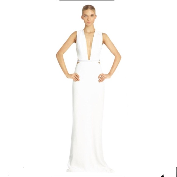 kaufmanfranco Dresses & Skirts - KAUFMANFRANCO white optic gown